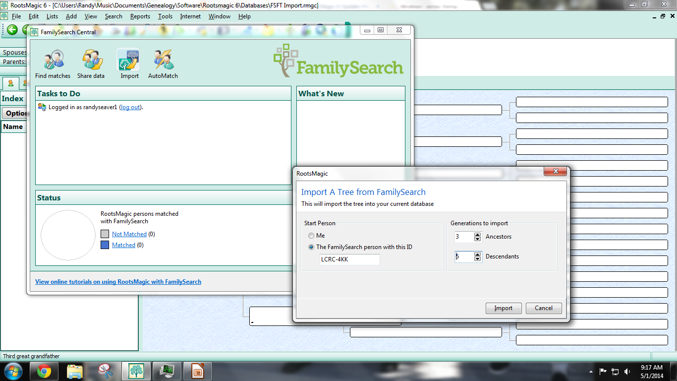 Genea-Musings: RootsMagic 6 Software Updates - Post 2: Importing Descendants from FamilySearch