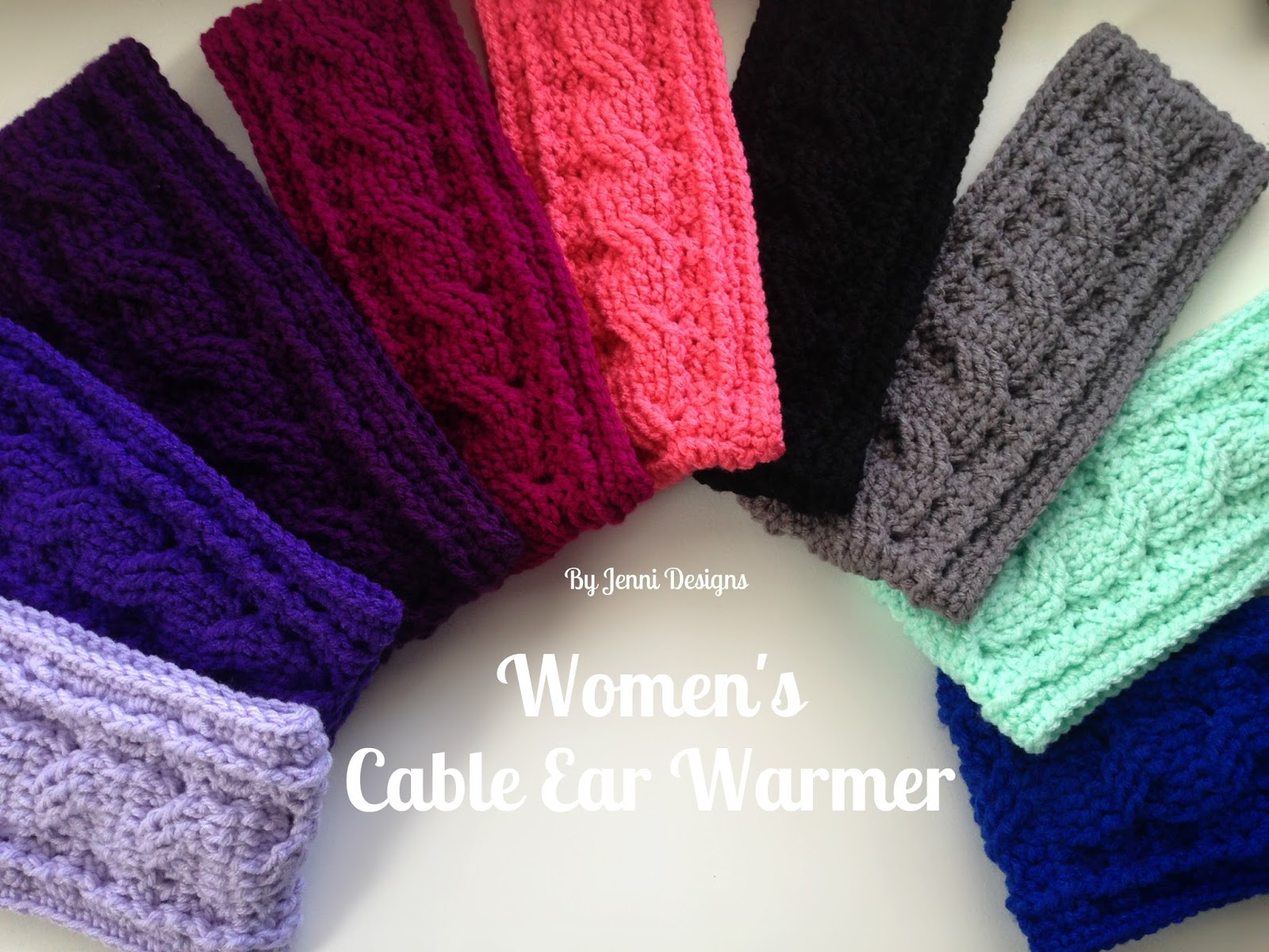 By Jenni Designs: Free Crochet Pattern: Women\'s Cable Ear Warmer