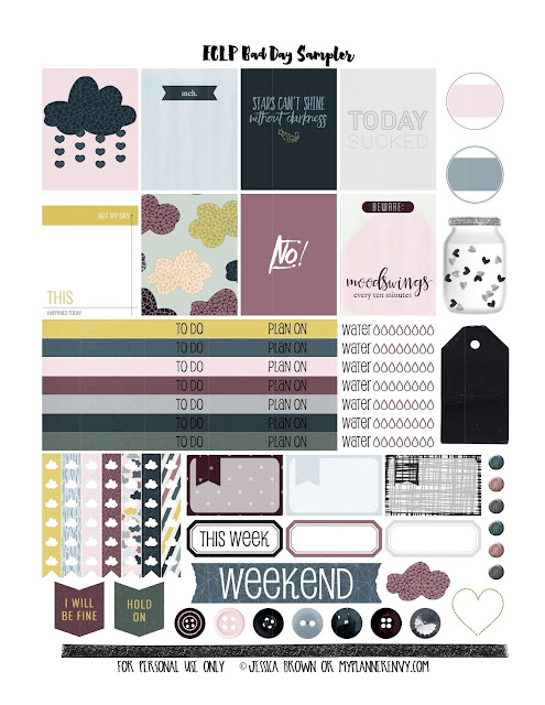 Free Planner Sticker Printable: Bad Day Sampler for the Vertical Erin Condren Life Planner