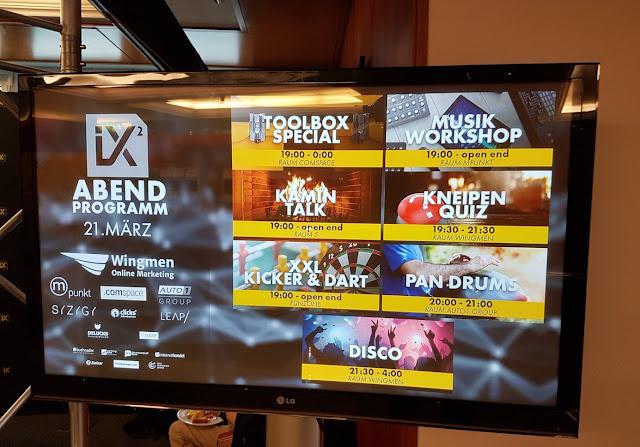 SEO Campixx 2019 Abendprogramm auf dem Monitor