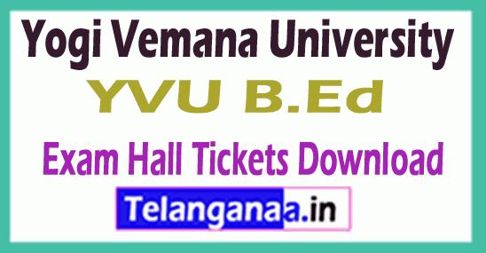 Yogi Vemana University YVU B.Ed Exam Hall Tickets Download