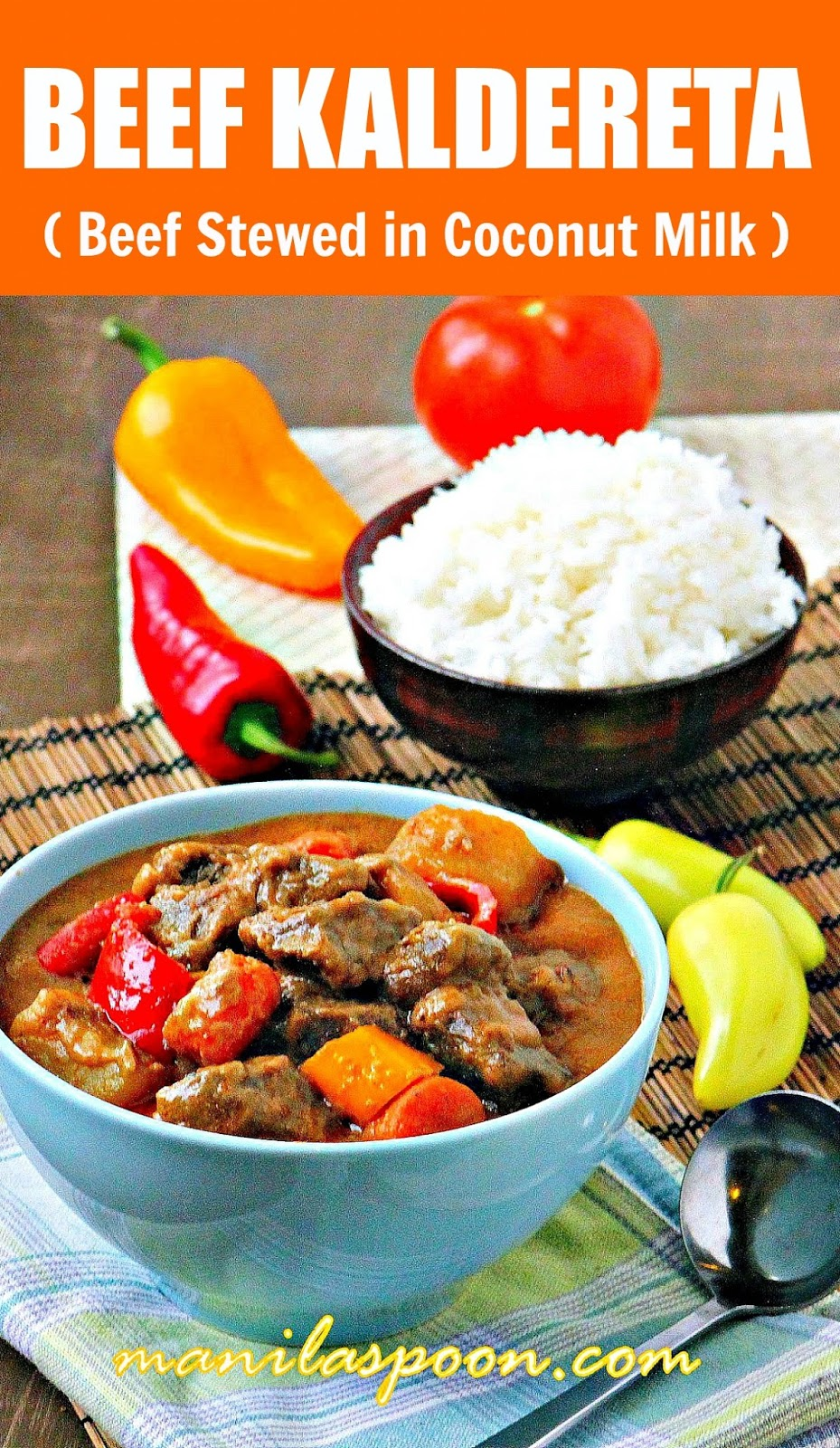 Creamy, nutty, spicy and delicious beef chunks stewed in coconut milk.This tasty beef stew is comfort food at its best - BEEF KALDERETA  | manilaspoon.com