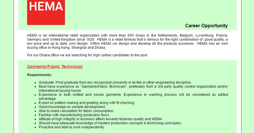 HEMA Far East Ltd - Position: Garments/Fabric Technician