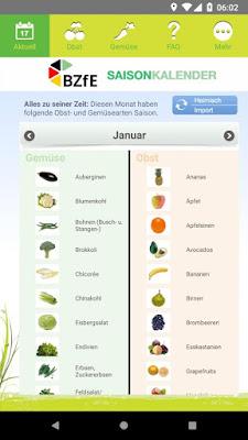 Saisonkalender App des Bundeszentrums für Ernährung