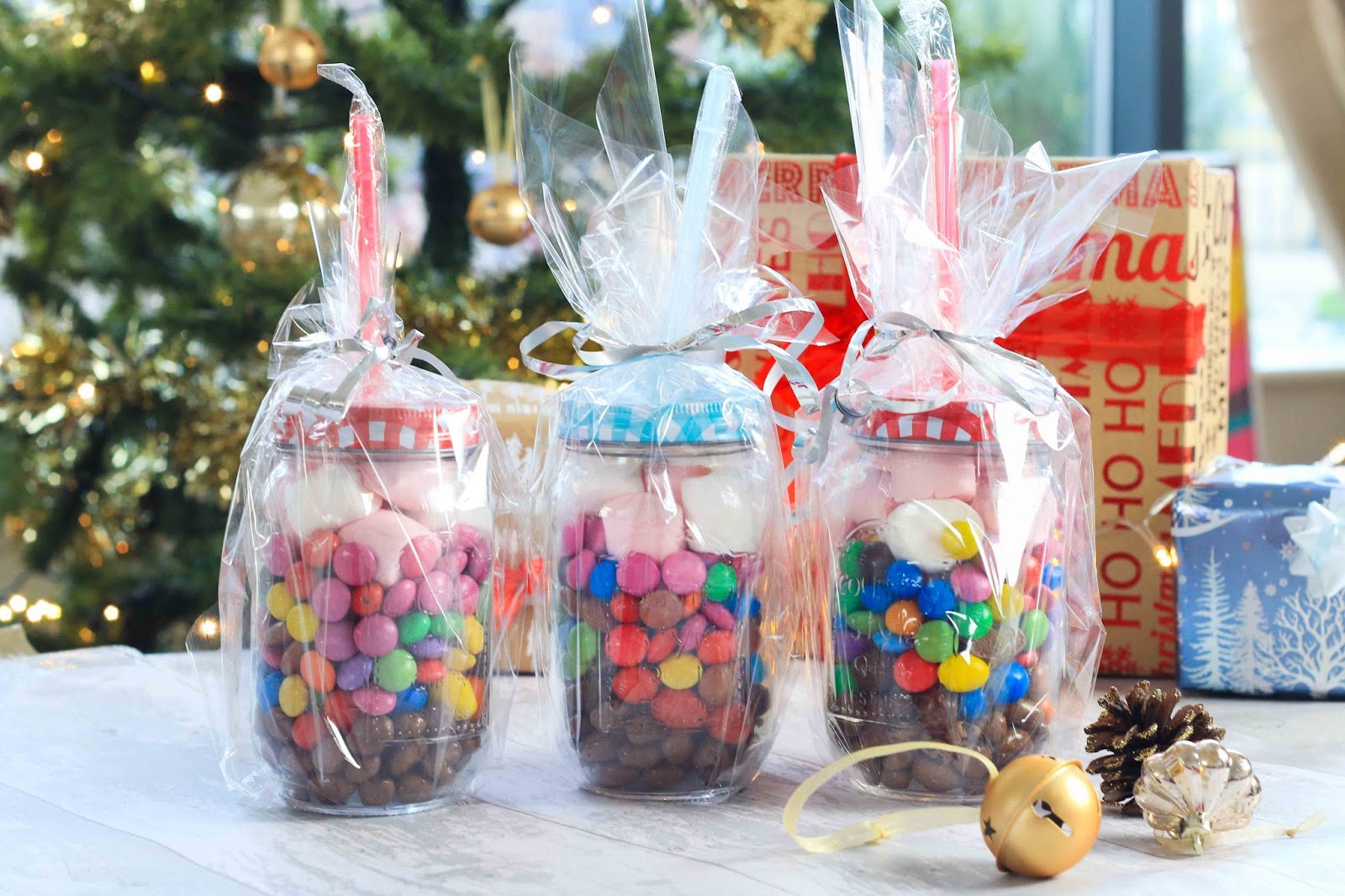 DIY chocolate filled mason jars