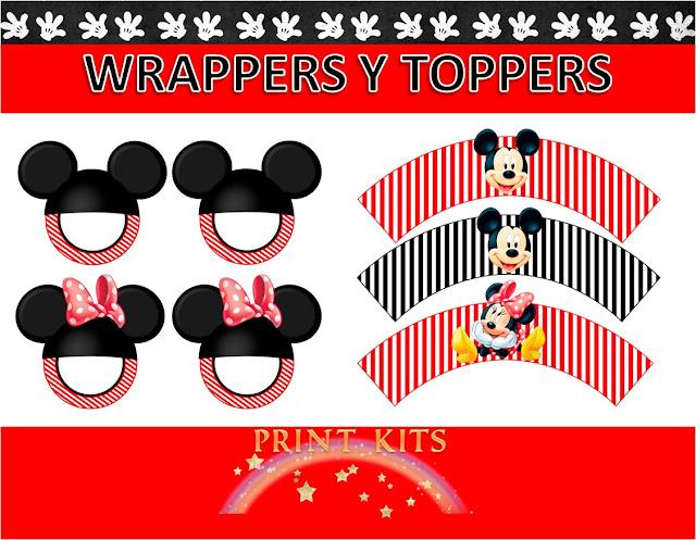 Wrappers y Toppers de Mickey y Minnie para Imprimir Gratis.