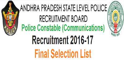 AP Police Constable Communications Final Selection list 2017
