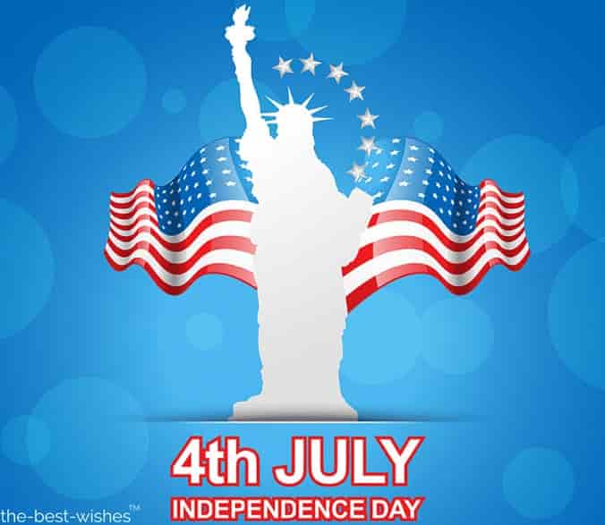 happy 4th of july greetings with statue of liberty