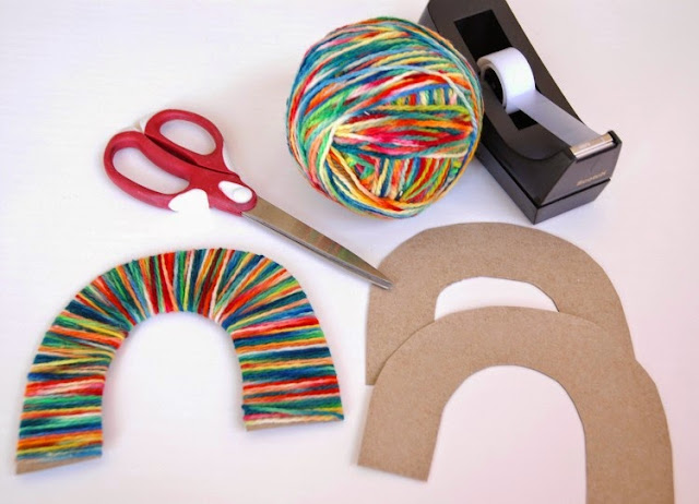 Materials for Rainbow Yarn Wrapping- Colorful St. Patrick's Day Craft for Kids