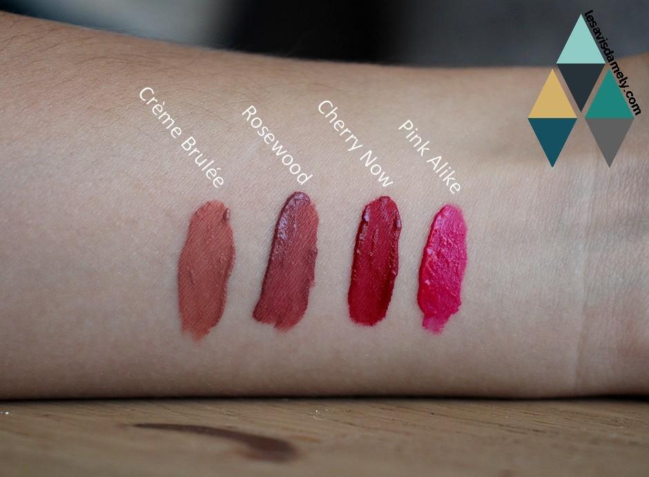 swatches rouge à lèvres velours mat BYS