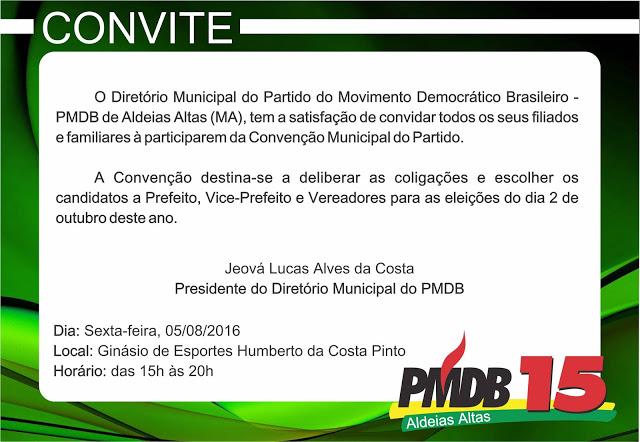 PMDB em Aldeias Altas vai realizar convenção no dia 5