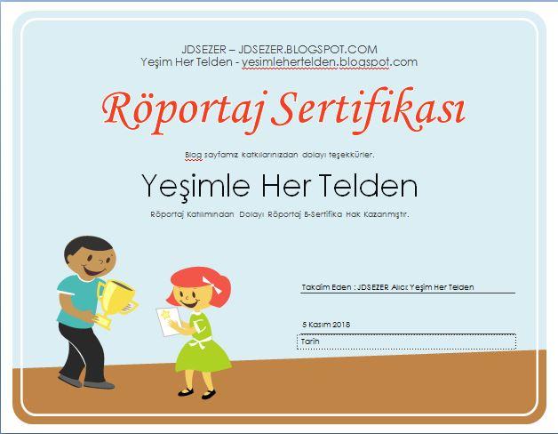 Yesimle hertelden röportaj katılım sertifikası