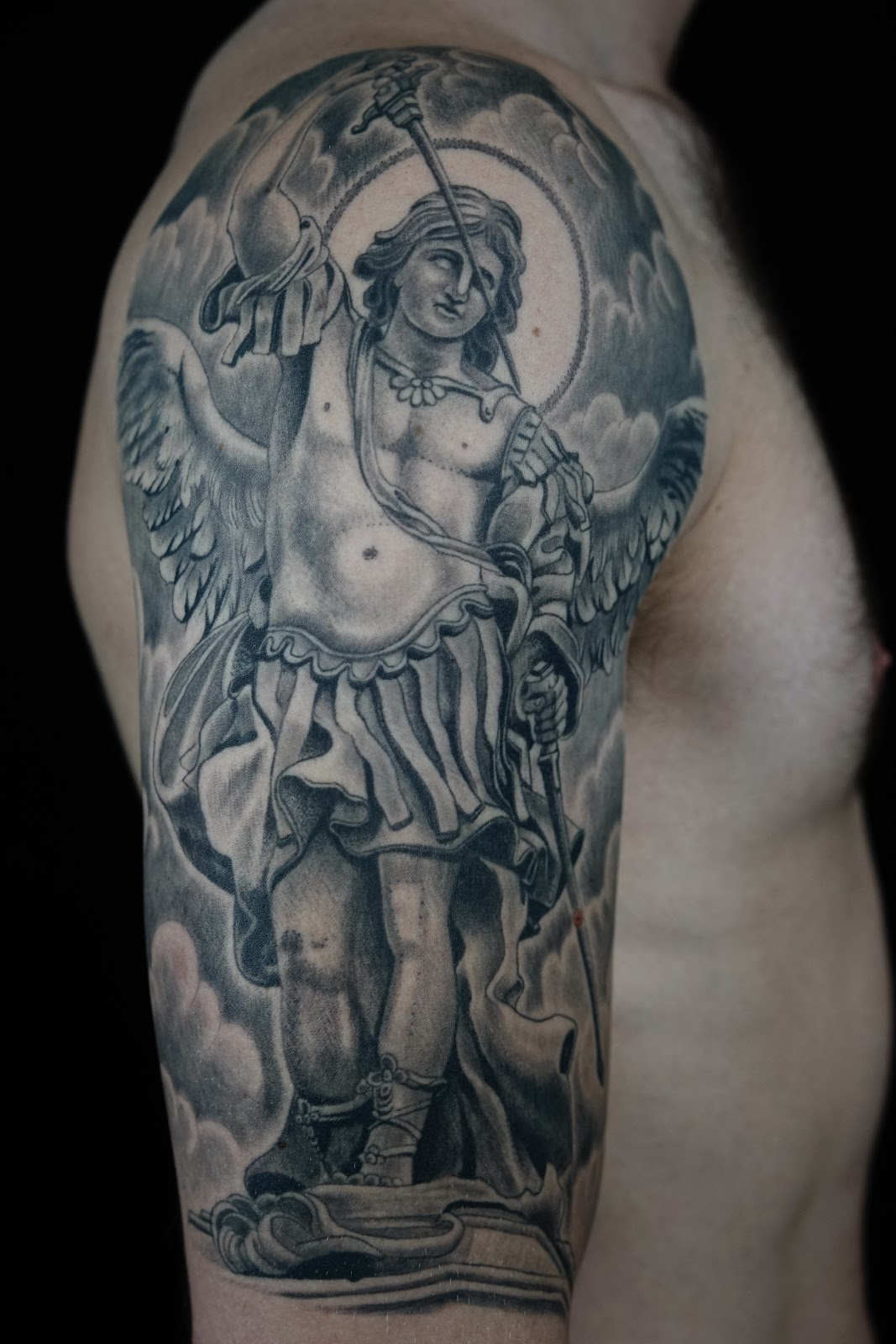 Jeff Srsic Black And Grey Half Sleeves St Michael Tattoo And