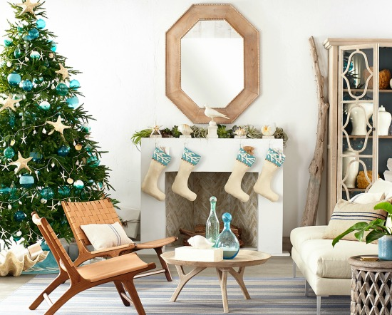 wisteria coastal beach christmas decor