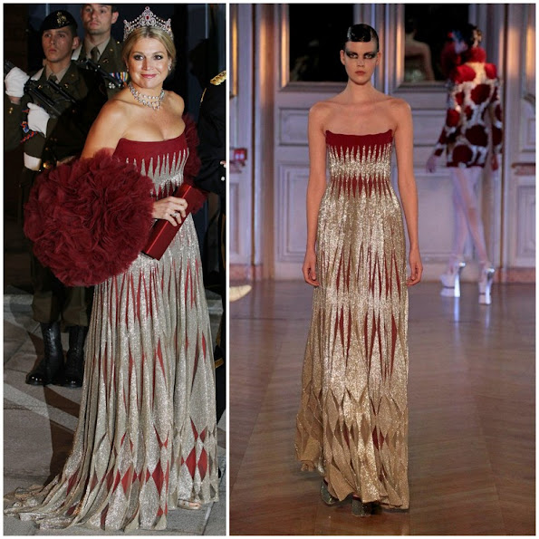 Princess Maxima wore Jantaminau silver and maroon strapless gown the royal wedding of Prince Guillaume of Luxembourg and Stephanie de Lannoy