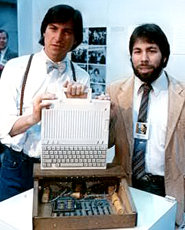 Steve Jobs with Apple 1 computer