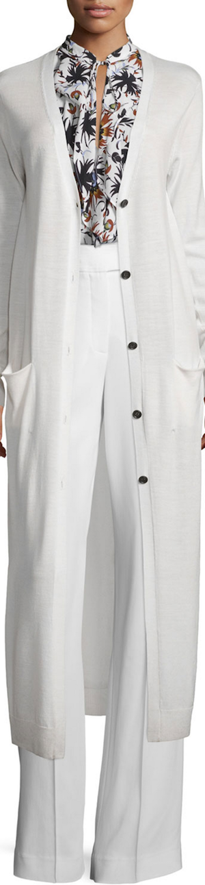 A.L.C. Smith Long Wool Cardigan, White