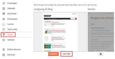 Klik Tema > klik Edit HTML