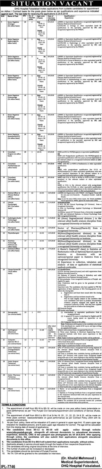 DHQ Faisalabad Jobs August 2018