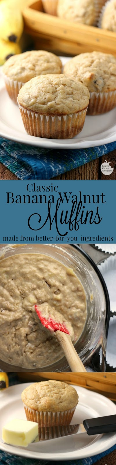 Banana Walnut Muffins | by Renee's Kitchen Adventures - better-for-you easy banana walnut recipe. Makes a great breakfast treat or snack. #banana #muffins