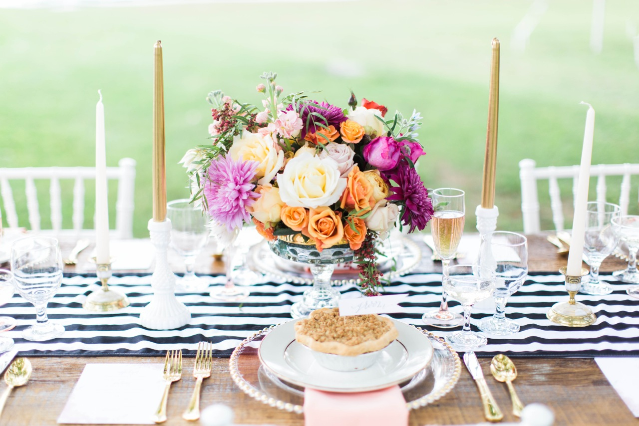 creative workshop, bloom workshop, berry pie, striped runner, tablescape, wedding inspiration, inspiration shoot