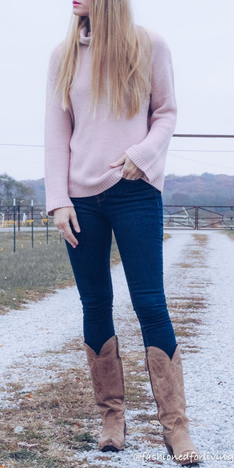 blush sweater with jeans and boots