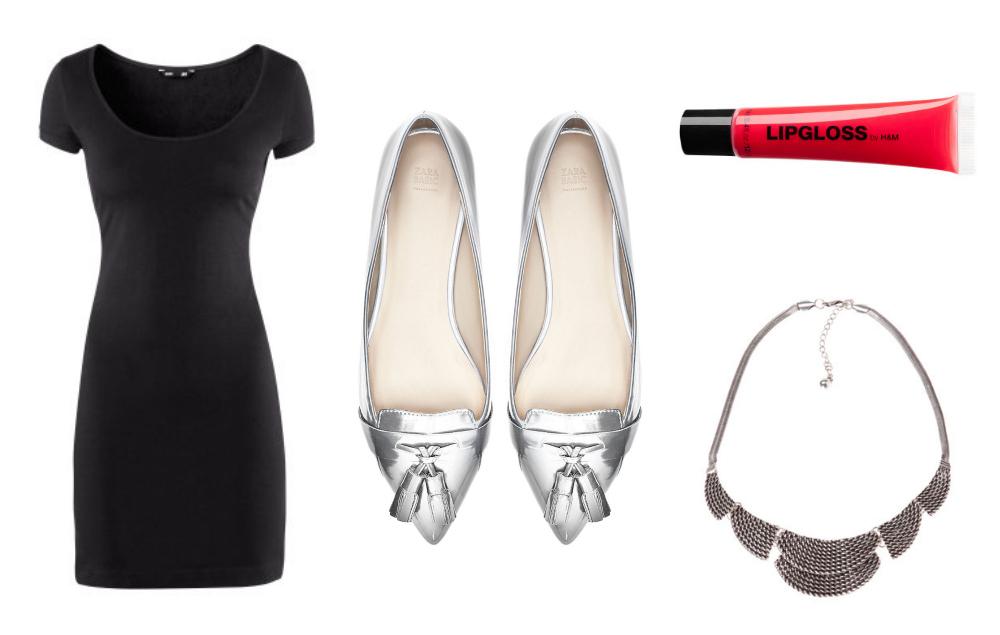 Accesorios para vestido negro y zapatos rojos