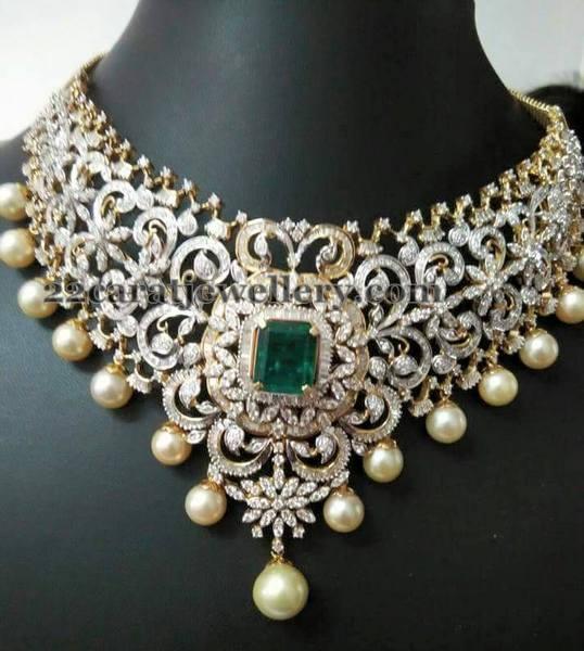 Bridal Diamond Set Matching Jhumkas Jewellery Designs