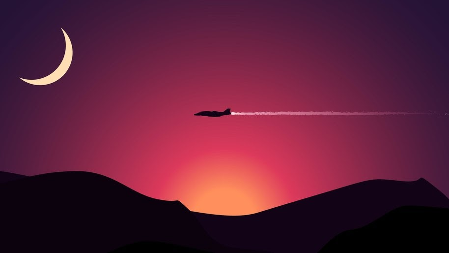 Aircraft Minimalist Landscape Digital Art 4k Wallpaper 29