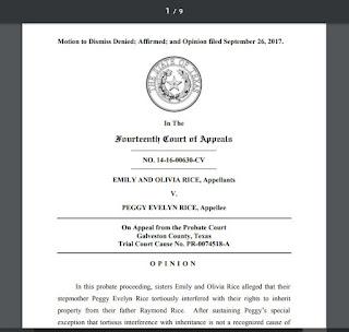 Emily and Olivia Rice v. Peggy Evelyn Rice, No. 14-16-00630-CV (Tex.App. - Houston [14th Dist], Sep. 26, 2017)