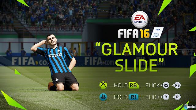 """FIFA 16 celebración de gol """"Glamour slide"""""""