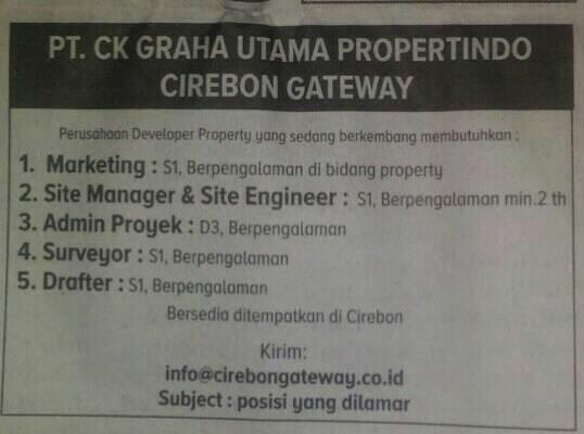 Lowongan kerja PT CK Graha Utama Propertindo Cirebon