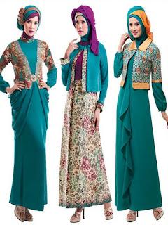 Long Dress Batik Kombinasi Polos Untuk Remaja