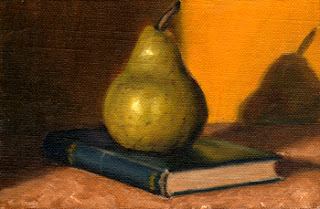 Oil painting of a green pear on an old book with a blue cover.