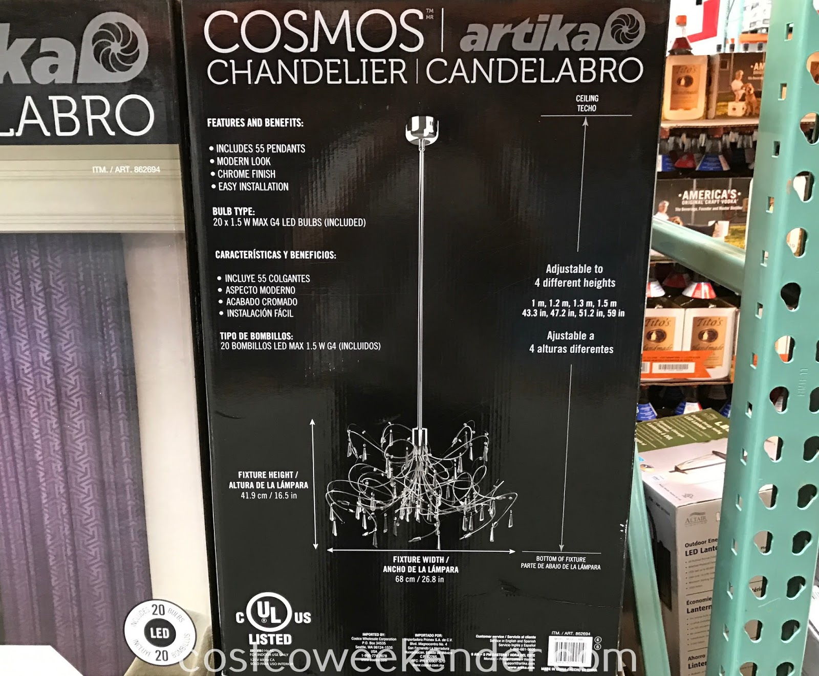 Costco 862694 - Artika Cosmos LED Chandelier: great for any home's dining room