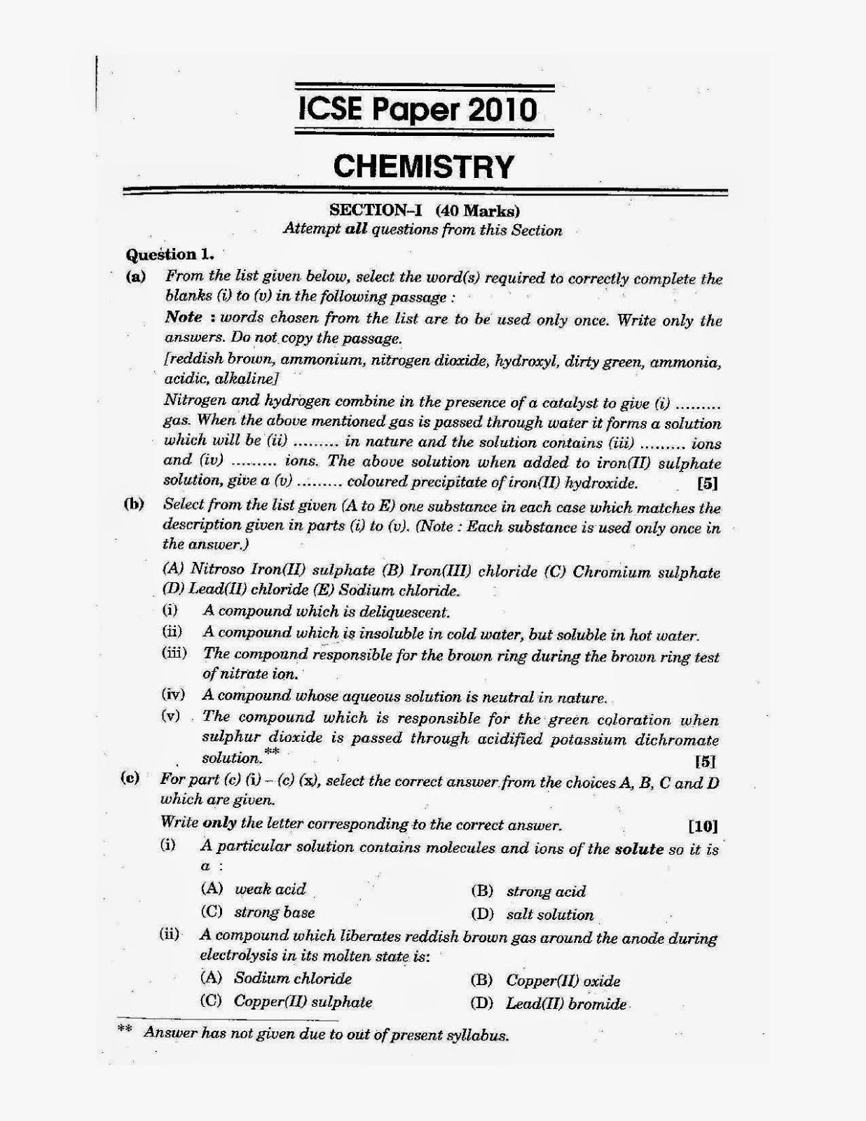 Icse Chemistry Science Class X Solved Board