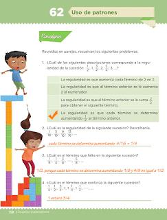Respuestas Apoyo Primaria Desafíos Matemáticos 5to Grado Bloque IV Lección 62 Uso de patrones
