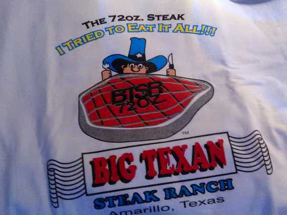 Big Texan steak challenge t-shirt