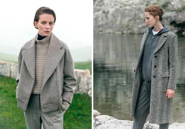 Монохромные образы с серым пальто