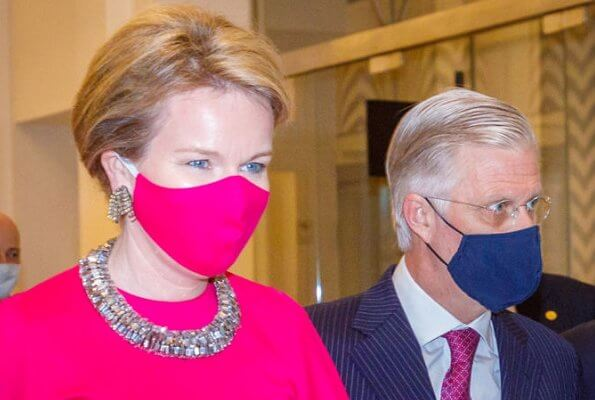 King Philippe, Queen Mathilde, Prince Laurent, Princess Astrid and Prince Lorenz attended a concert. Natan red gown, Armani