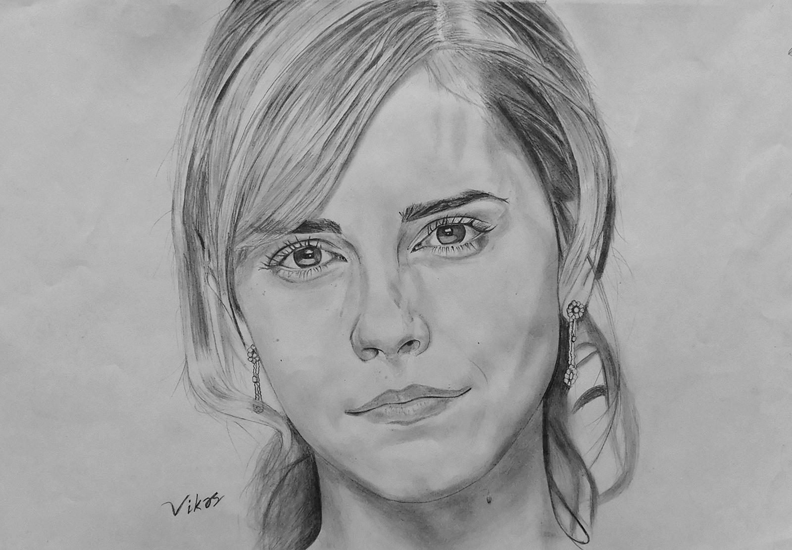 Sourcewing pencil drawing of emma watson