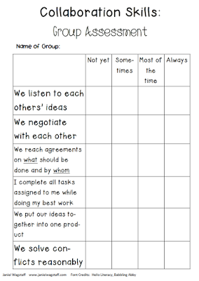 Blog post by Janiel Wagstaff:  Reflecting on collaboration.  Links to two collaboration rubrics are included.
