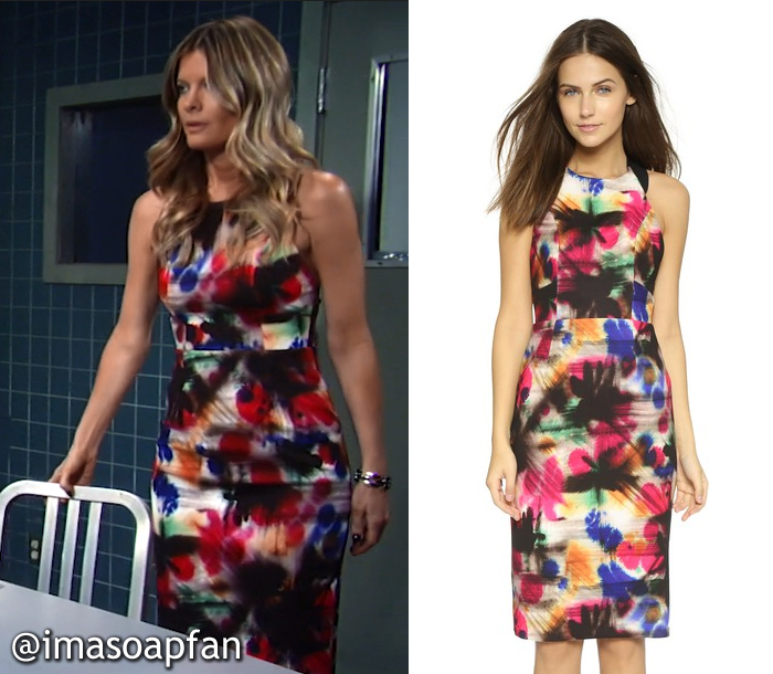 Nina Reeves's Multicolored Graffiti Print Dress - General Hospital, Season 54, Episode 08/12/16