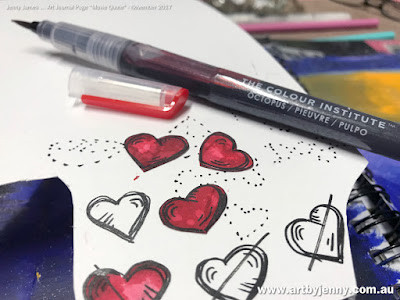 Colouring hearts with Jane Davenport Mixed Media Mermaid Markers