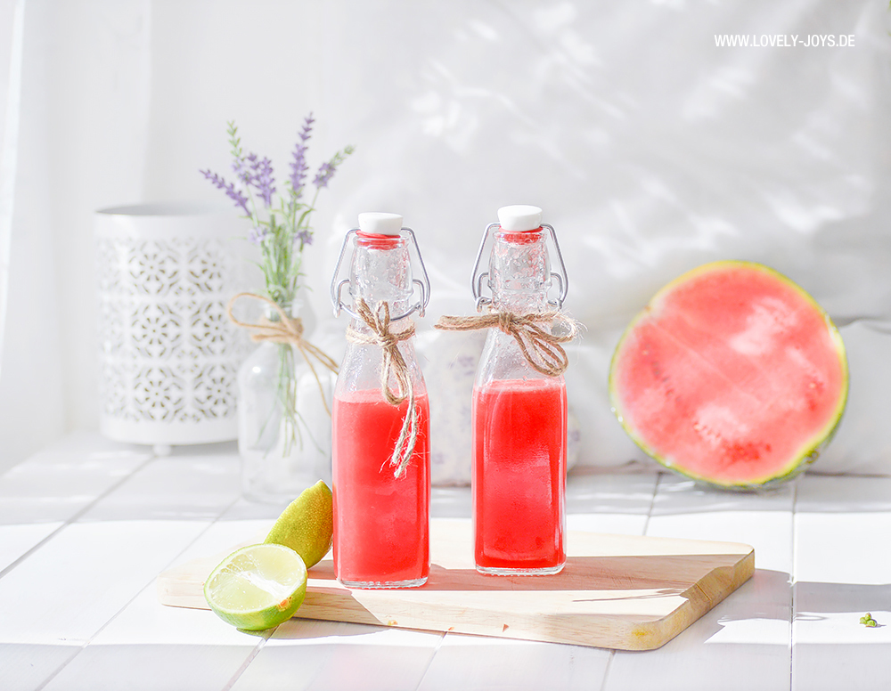 Wassermelone Limonade Limette Minze Rezept hausgemacht
