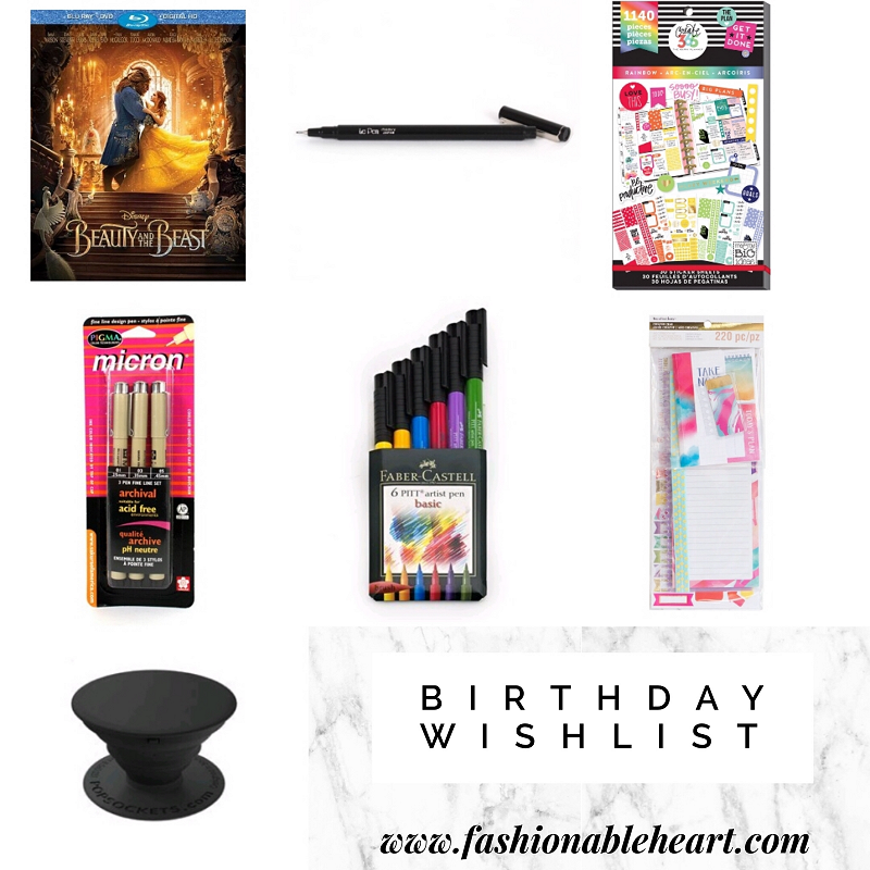 birthday wishlist, wish list, beauty and the beast, le pen, create 365, the happy planner, sticker book, pigma micron, faber-castell, pitt pens, recollections planner, accessories kit, popsocket, michaels haul, recipe planner, vertical, planning community, planner girl, planner love