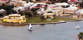 Aeril view of Christiansted National Historic Site in Christiansted, United States Virgin Islands