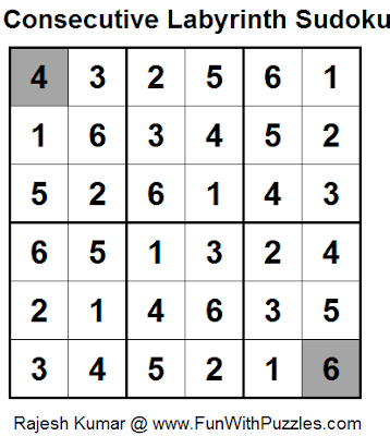 Consecutive Labyrinth Sudoku (Daily Sudoku League #100) (Mini Sudoku Series #35) Solution