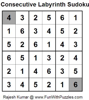 Consecutive Labyrinth Sudoku (Daily Sudoku League #100) (Mini Sudoku Series #35) Solution