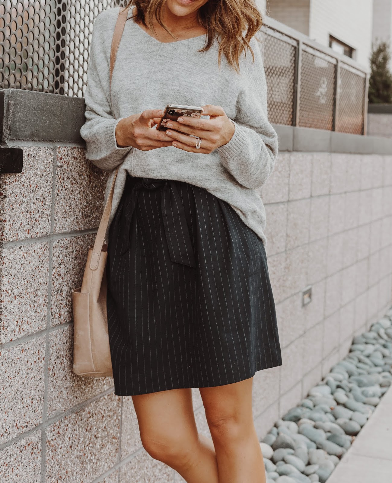 French Tuck Sweater Into Skirt